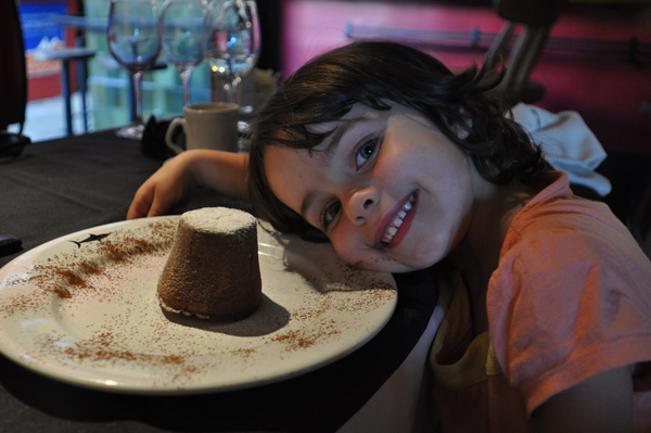 A very happy Esme with her chocolate bomb