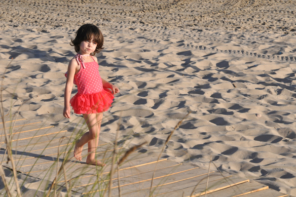 Esme enjoying the beach club provided by La Posada del Faro