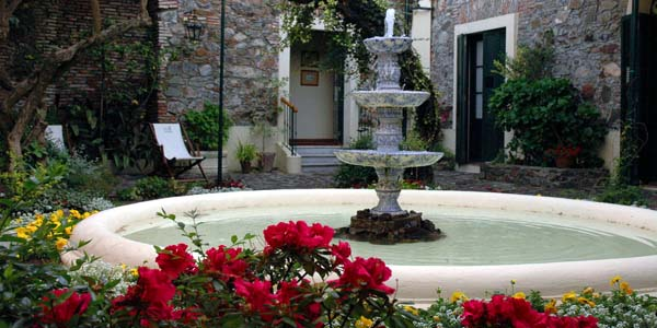 The fountain in the beautiful courtyard at Posada Plaza Mayor