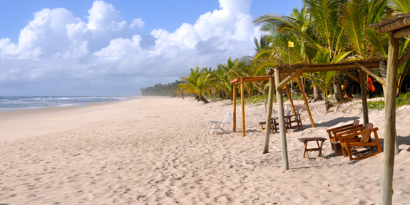 Txai Resort's dazzlingly white sand beach on the unspoilt Cacoa Coast