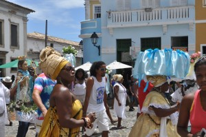 A colourful Afro-Brazilian religious procession