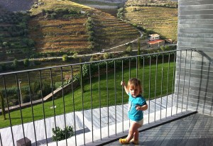 Cormac taking in the view from our balcony