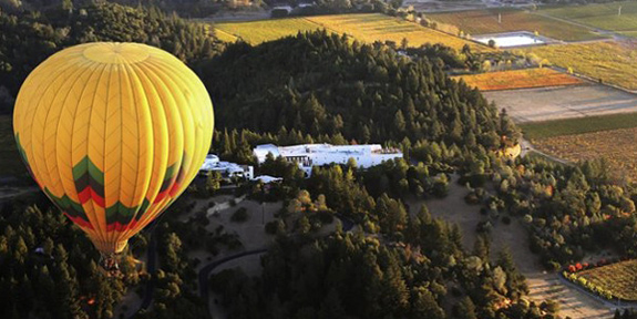 Hot air ballooning above Napa and Sonoma valleys