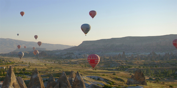 Hot-air balloons viewed from Serinn House
