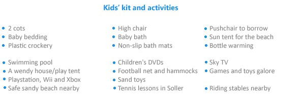 Kids' kit and activities